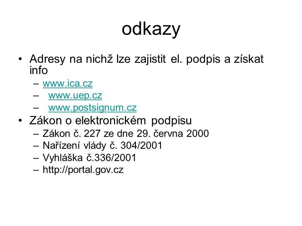 odkazy Adresy na nichž lze zajistit el.