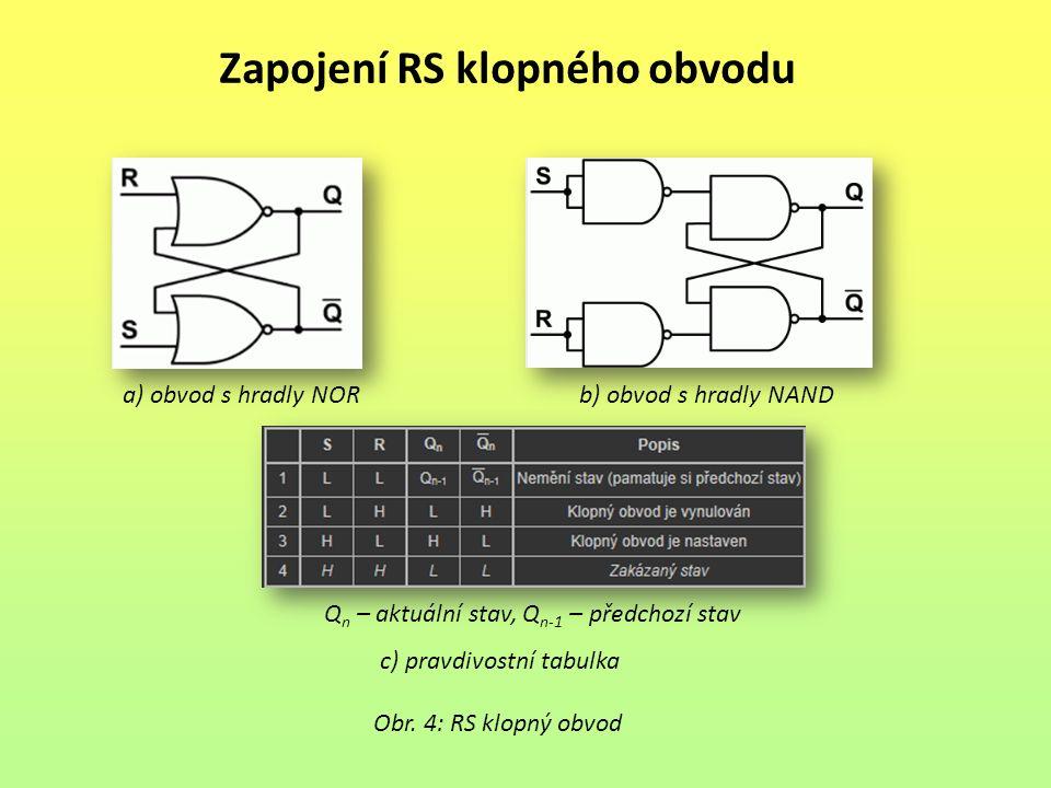 Zapojení RS klopného obvodu Obr. 4: RS klopný obvod Q n – aktuální stav, Q n-1 – předchozí stav a) obvod s hradly NORb) obvod s hradly NAND c) pravdiv