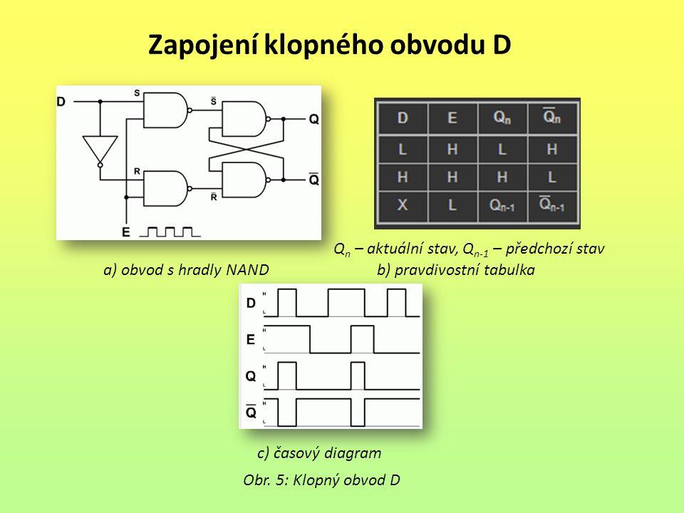 Zapojení klopného obvodu D Obr. 5: Klopný obvod D Q n – aktuální stav, Q n-1 – předchozí stav a) obvod s hradly NANDb) pravdivostní tabulka c) časový