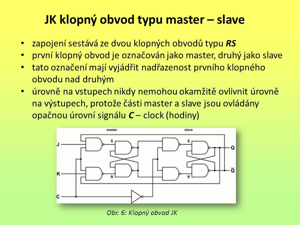 JK klopný obvod typu master – slave Obr. 6: Klopný obvod JK zapojení sestává ze dvou klopných obvodů typu RS první klopný obvod je označován jako mast