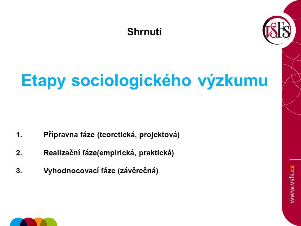 Shrnutí Etapy sociologického výzkumu 1.Přípravna fáze (teoretická, projektová) 2.Realizační fáze(empirická, praktická) 3.Vyhodnocovací fáze (závěrečná)