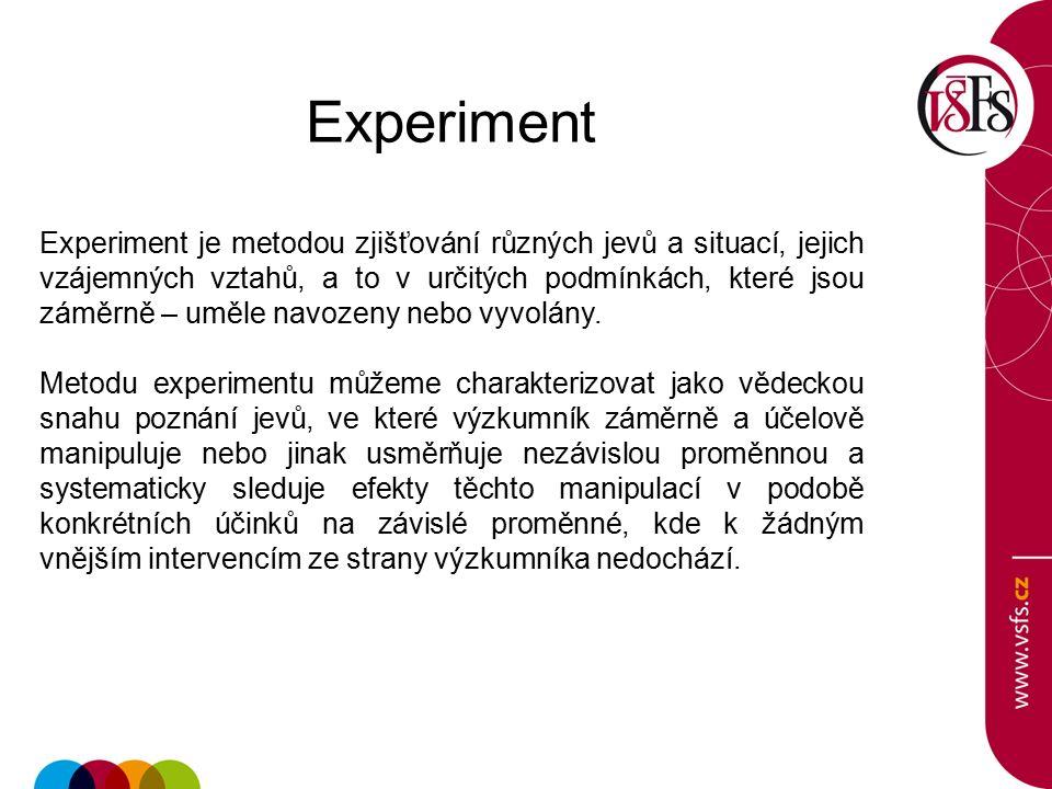 Experiment Experiment je metodou zjišťování různých jevů a situací, jejich vzájemných vztahů, a to v určitých podmínkách, které jsou záměrně – uměle navozeny nebo vyvolány.