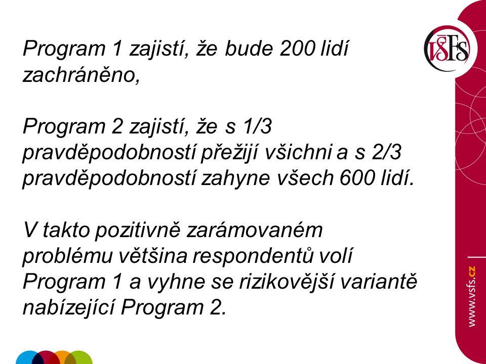 Program 1 zajistí, že bude 200 lidí zachráněno, Program 2 zajistí, že s 1/3 pravděpodobností přežijí všichni a s 2/3 pravděpodobností zahyne všech 600