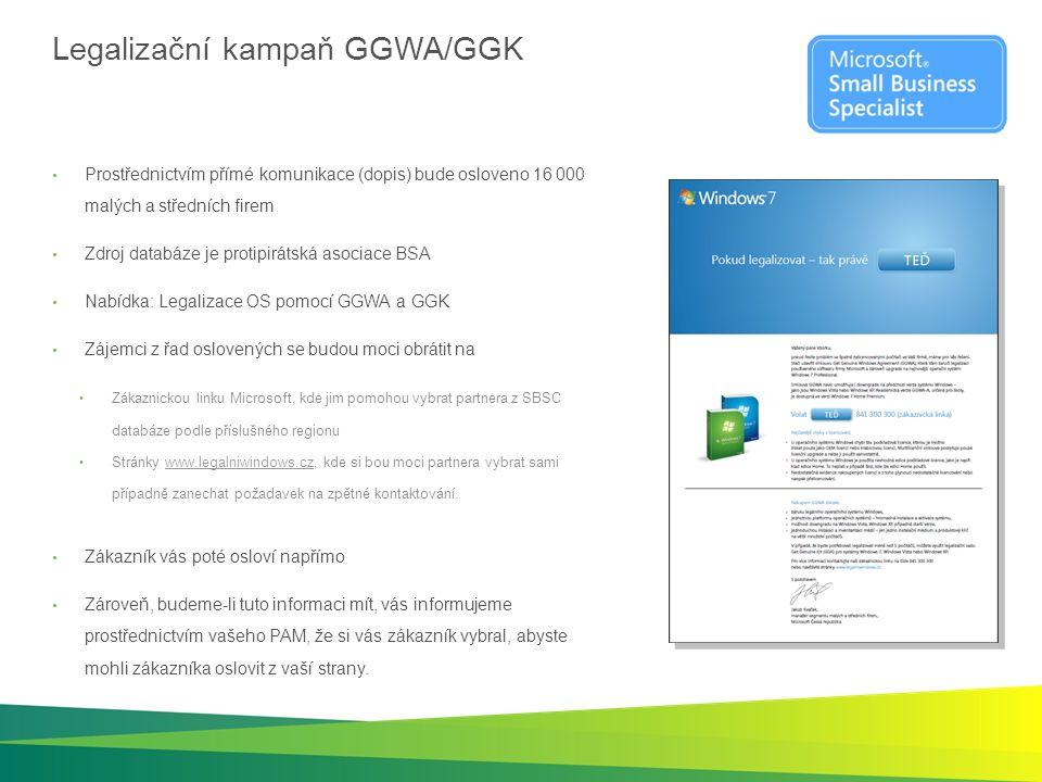 Legalizační kampaň GGWA/GGK Prostřednictvím přímé komunikace (dopis) bude osloveno 16 000 malých a středních firem Zdroj databáze je protipirátská aso