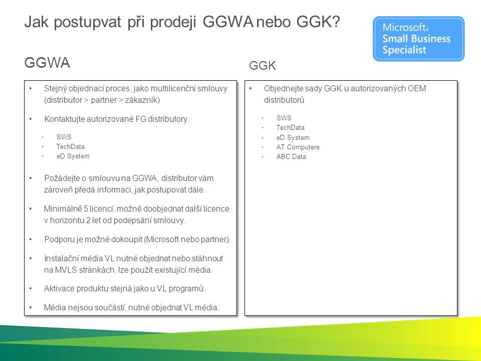 Jak postupvat při prodeji GGWA nebo GGK? GGWA Stejný objednací proces, jako multilicenční smlouvy (distributor > partner > zákazník) Kontaktujte autor