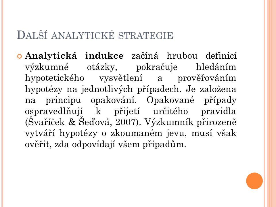 D ALŠÍ ANALYTICKÉ STRATEGIE Analytická indukce začíná hrubou definicí výzkumné otázky, pokračuje hledáním hypotetického vysvětlení a prověřováním hypo