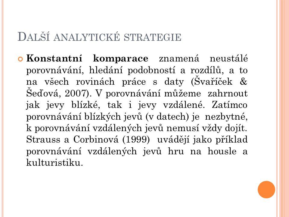 D ALŠÍ ANALYTICKÉ STRATEGIE Konstantní komparace znamená neustálé porovnávání, hledání podobností a rozdílů, a to na všech rovinách práce s daty (Švař