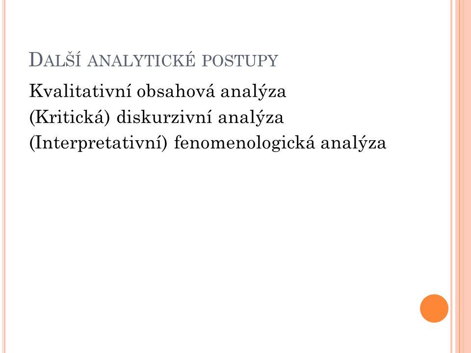 D ALŠÍ ANALYTICKÉ POSTUPY Kvalitativní obsahová analýza (Kritická) diskurzivní analýza (Interpretativní) fenomenologická analýza