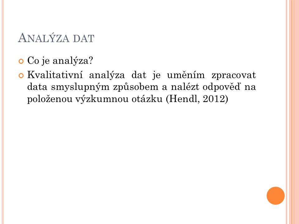 A NALÝZA DAT Co je analýza? Kvalitativní analýza dat je uměním zpracovat data smyslupným způsobem a nalézt odpověď na položenou výzkumnou otázku (Hend