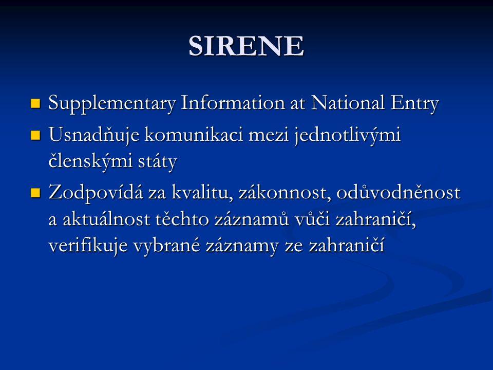 SIRENE Supplementary Information at National Entry Supplementary Information at National Entry Usnadňuje komunikaci mezi jednotlivými členskými státy Usnadňuje komunikaci mezi jednotlivými členskými státy Zodpovídá za kvalitu, zákonnost, odůvodněnost a aktuálnost těchto záznamů vůči zahraničí, verifikuje vybrané záznamy ze zahraničí Zodpovídá za kvalitu, zákonnost, odůvodněnost a aktuálnost těchto záznamů vůči zahraničí, verifikuje vybrané záznamy ze zahraničí