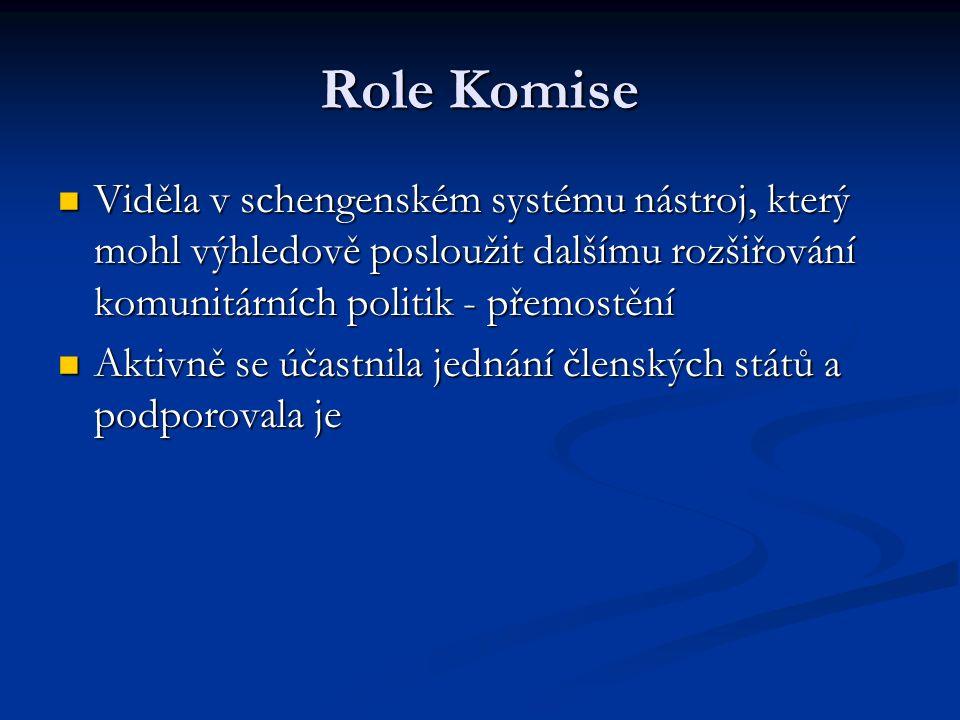 Role Komise Viděla v schengenském systému nástroj, který mohl výhledově posloužit dalšímu rozšiřování komunitárních politik - přemostění Viděla v sche