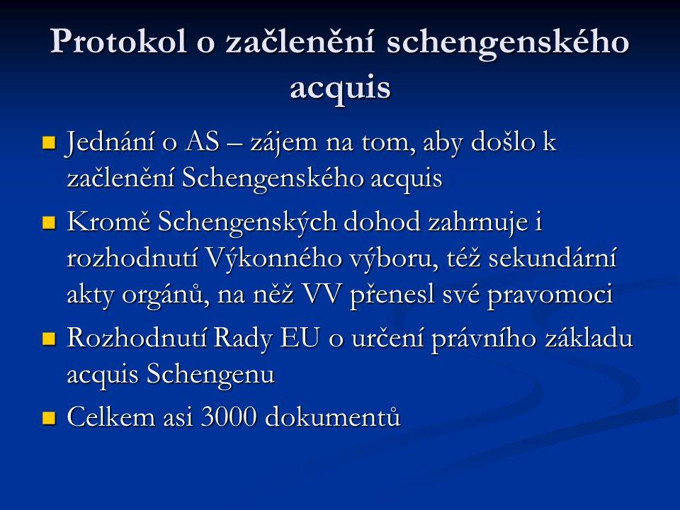 Protokol o začlenění schengenského acquis Jednání o AS – zájem na tom, aby došlo k začlenění Schengenského acquis Jednání o AS – zájem na tom, aby došlo k začlenění Schengenského acquis Kromě Schengenských dohod zahrnuje i rozhodnutí Výkonného výboru, též sekundární akty orgánů, na něž VV přenesl své pravomoci Kromě Schengenských dohod zahrnuje i rozhodnutí Výkonného výboru, též sekundární akty orgánů, na něž VV přenesl své pravomoci Rozhodnutí Rady EU o určení právního základu acquis Schengenu Rozhodnutí Rady EU o určení právního základu acquis Schengenu Celkem asi 3000 dokumentů Celkem asi 3000 dokumentů