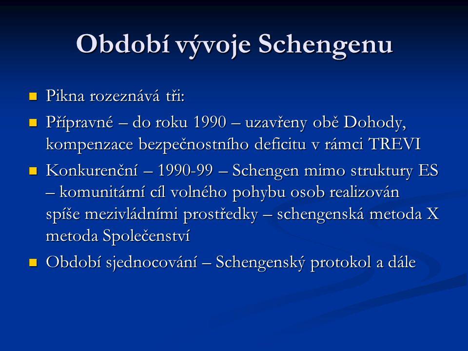 Období vývoje Schengenu Pikna rozeznává tři: Pikna rozeznává tři: Přípravné – do roku 1990 – uzavřeny obě Dohody, kompenzace bezpečnostního deficitu v rámci TREVI Přípravné – do roku 1990 – uzavřeny obě Dohody, kompenzace bezpečnostního deficitu v rámci TREVI Konkurenční – 1990-99 – Schengen mimo struktury ES – komunitární cíl volného pohybu osob realizován spíše mezivládními prostředky – schengenská metoda X metoda Společenství Konkurenční – 1990-99 – Schengen mimo struktury ES – komunitární cíl volného pohybu osob realizován spíše mezivládními prostředky – schengenská metoda X metoda Společenství Období sjednocování – Schengenský protokol a dále Období sjednocování – Schengenský protokol a dále