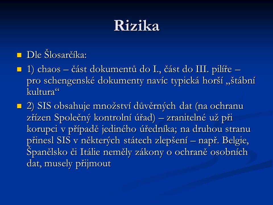 """Rizika Dle Šlosarčíka: Dle Šlosarčíka: 1) chaos – část dokumentů do I., část do III. pilíře – pro schengenské dokumenty navíc typická horší """"štábní ku"""