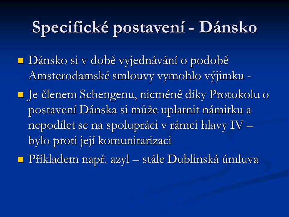 Specifické postavení - Dánsko Dánsko si v době vyjednávání o podobě Amsterodamské smlouvy vymohlo výjimku - Dánsko si v době vyjednávání o podobě Amsterodamské smlouvy vymohlo výjimku - Je členem Schengenu, nicméně díky Protokolu o postavení Dánska si může uplatnit námitku a nepodílet se na spolupráci v rámci hlavy IV – bylo proti její komunitarizaci Je členem Schengenu, nicméně díky Protokolu o postavení Dánska si může uplatnit námitku a nepodílet se na spolupráci v rámci hlavy IV – bylo proti její komunitarizaci Příkladem např.