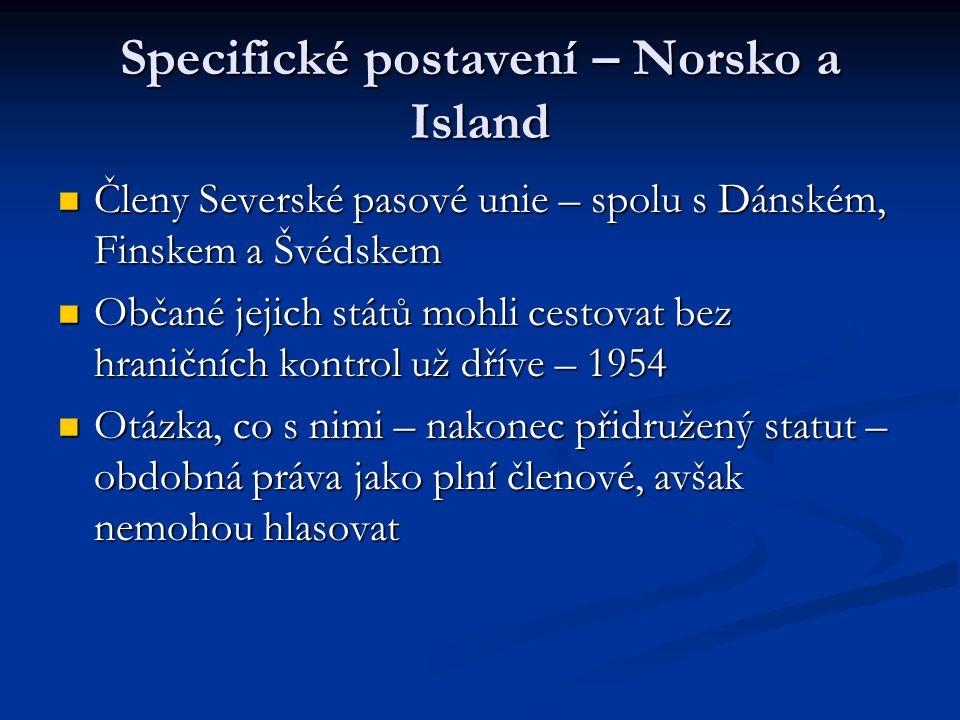 Specifické postavení – Norsko a Island Členy Severské pasové unie – spolu s Dánském, Finskem a Švédskem Členy Severské pasové unie – spolu s Dánském, Finskem a Švédskem Občané jejich států mohli cestovat bez hraničních kontrol už dříve – 1954 Občané jejich států mohli cestovat bez hraničních kontrol už dříve – 1954 Otázka, co s nimi – nakonec přidružený statut – obdobná práva jako plní členové, avšak nemohou hlasovat Otázka, co s nimi – nakonec přidružený statut – obdobná práva jako plní členové, avšak nemohou hlasovat