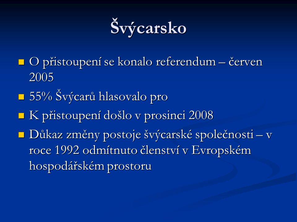 Švýcarsko O přistoupení se konalo referendum – červen 2005 O přistoupení se konalo referendum – červen 2005 55% Švýcarů hlasovalo pro 55% Švýcarů hlasovalo pro K přistoupení došlo v prosinci 2008 K přistoupení došlo v prosinci 2008 Důkaz změny postoje švýcarské společnosti – v roce 1992 odmítnuto členství v Evropském hospodářském prostoru Důkaz změny postoje švýcarské společnosti – v roce 1992 odmítnuto členství v Evropském hospodářském prostoru