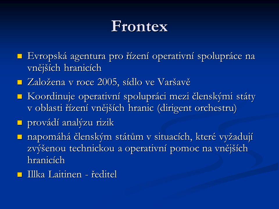 Frontex Evropská agentura pro řízení operativní spolupráce na vnějších hranicích Evropská agentura pro řízení operativní spolupráce na vnějších hranic