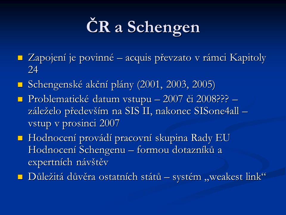 ČR a Schengen Zapojení je povinné – acquis převzato v rámci Kapitoly 24 Zapojení je povinné – acquis převzato v rámci Kapitoly 24 Schengenské akční plány (2001, 2003, 2005) Schengenské akční plány (2001, 2003, 2005) Problematické datum vstupu – 2007 či 2008??.