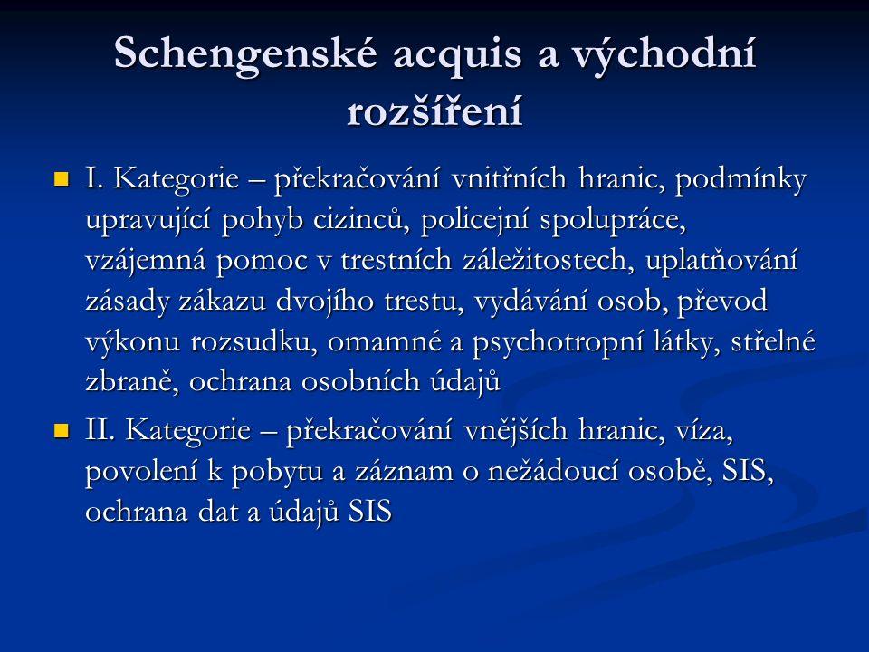 Schengenské acquis a východní rozšíření I. Kategorie – překračování vnitřních hranic, podmínky upravující pohyb cizinců, policejní spolupráce, vzájemn