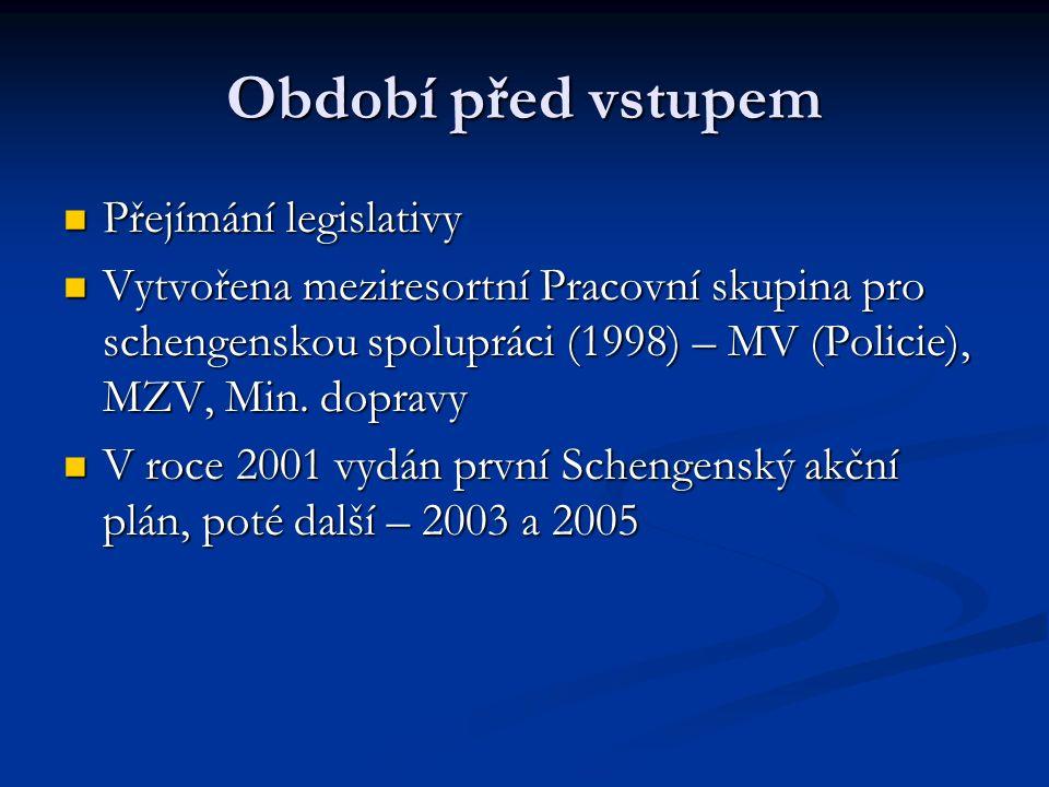 Období před vstupem Přejímání legislativy Přejímání legislativy Vytvořena meziresortní Pracovní skupina pro schengenskou spolupráci (1998) – MV (Policie), MZV, Min.