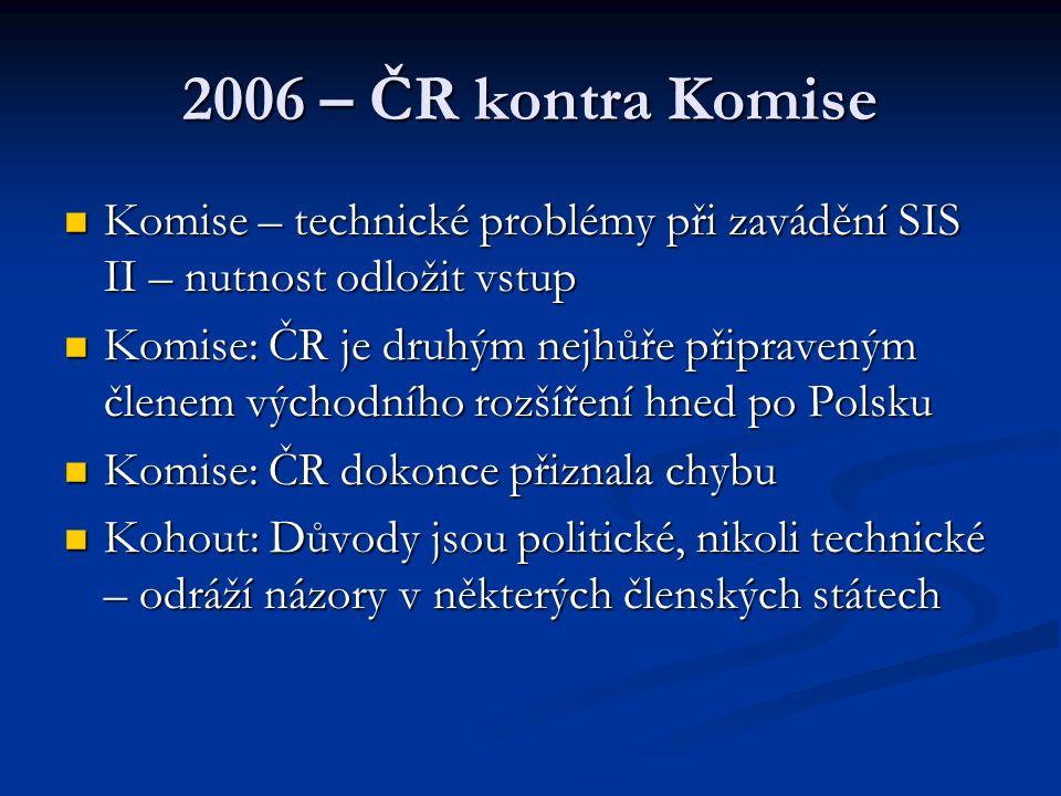2006 – ČR kontra Komise Komise – technické problémy při zavádění SIS II – nutnost odložit vstup Komise – technické problémy při zavádění SIS II – nutn