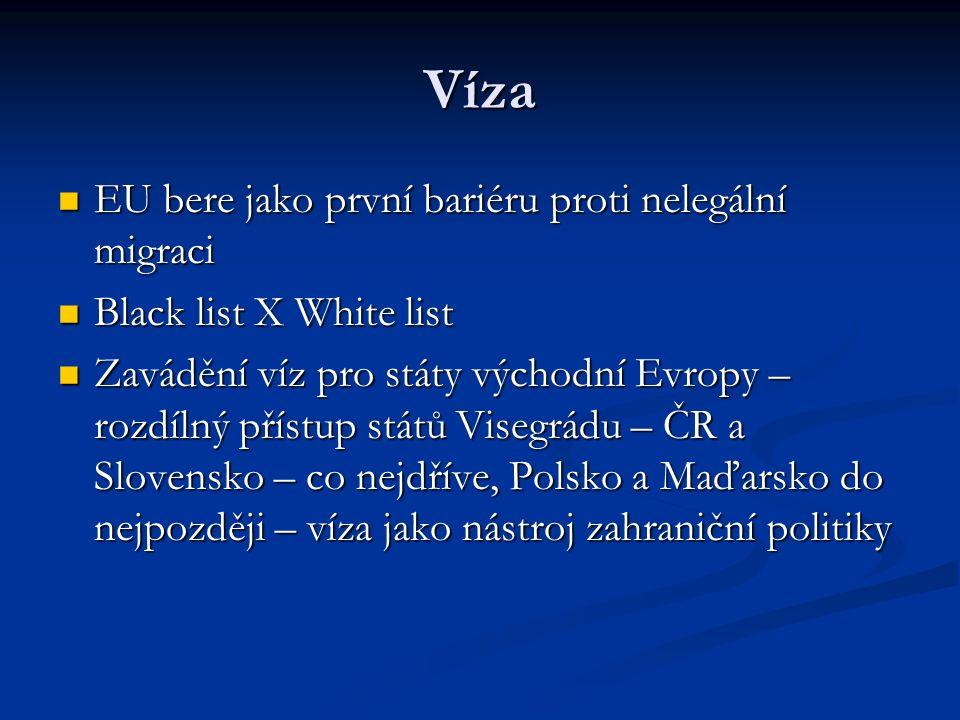 Víza EU bere jako první bariéru proti nelegální migraci EU bere jako první bariéru proti nelegální migraci Black list X White list Black list X White list Zavádění víz pro státy východní Evropy – rozdílný přístup států Visegrádu – ČR a Slovensko – co nejdříve, Polsko a Maďarsko do nejpozději – víza jako nástroj zahraniční politiky Zavádění víz pro státy východní Evropy – rozdílný přístup států Visegrádu – ČR a Slovensko – co nejdříve, Polsko a Maďarsko do nejpozději – víza jako nástroj zahraniční politiky
