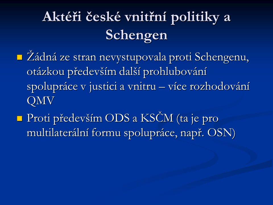 Aktéři české vnitřní politiky a Schengen Žádná ze stran nevystupovala proti Schengenu, otázkou především další prohlubování spolupráce v justici a vni