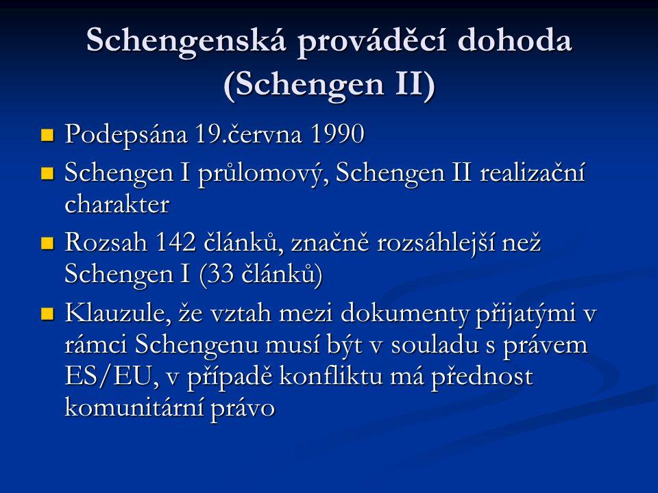 Schengenská prováděcí dohoda (Schengen II) Podepsána 19.června 1990 Podepsána 19.června 1990 Schengen I průlomový, Schengen II realizační charakter Schengen I průlomový, Schengen II realizační charakter Rozsah 142 článků, značně rozsáhlejší než Schengen I (33 článků) Rozsah 142 článků, značně rozsáhlejší než Schengen I (33 článků) Klauzule, že vztah mezi dokumenty přijatými v rámci Schengenu musí být v souladu s právem ES/EU, v případě konfliktu má přednost komunitární právo Klauzule, že vztah mezi dokumenty přijatými v rámci Schengenu musí být v souladu s právem ES/EU, v případě konfliktu má přednost komunitární právo