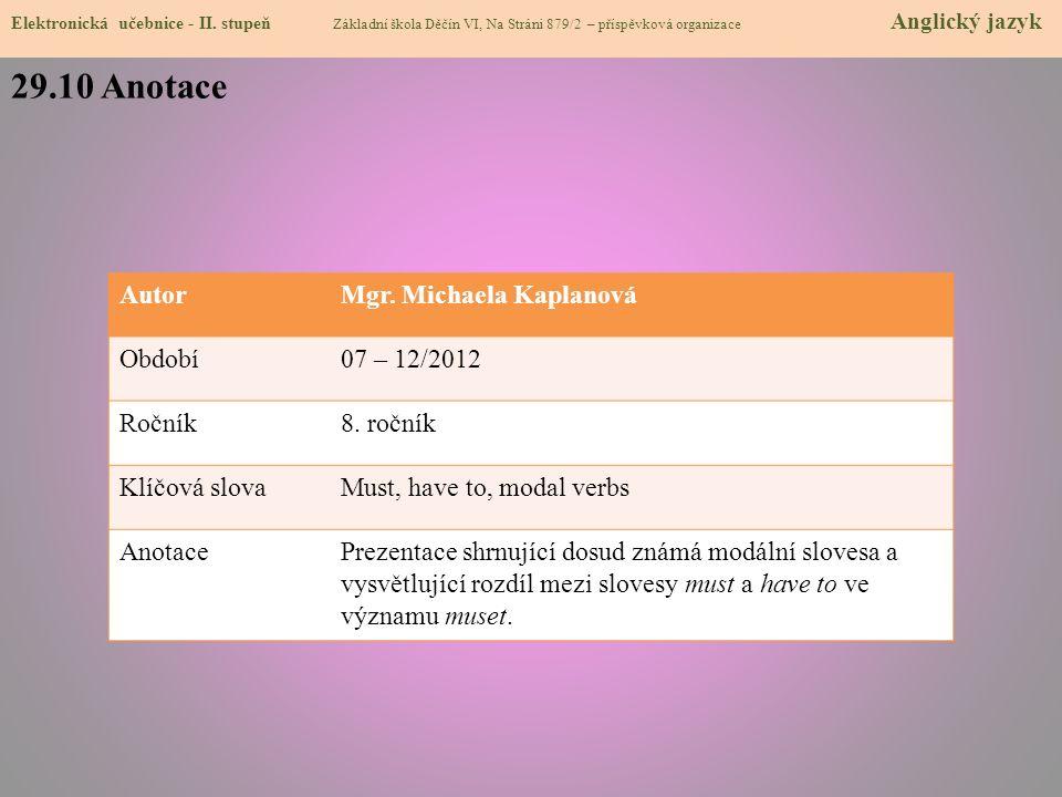 29.10 Anotace Elektronická učebnice - II.