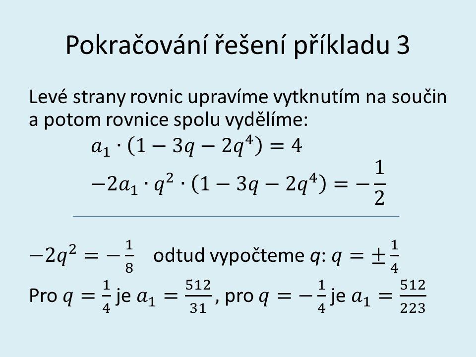 Pokračování řešení příkladu 3