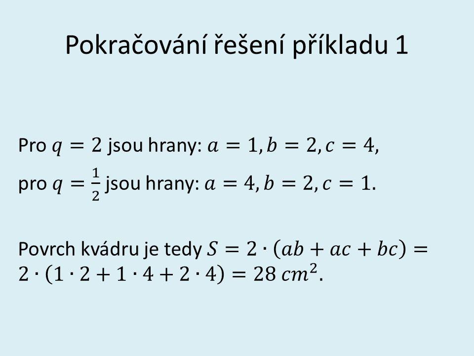 Pokračování řešení příkladu 1