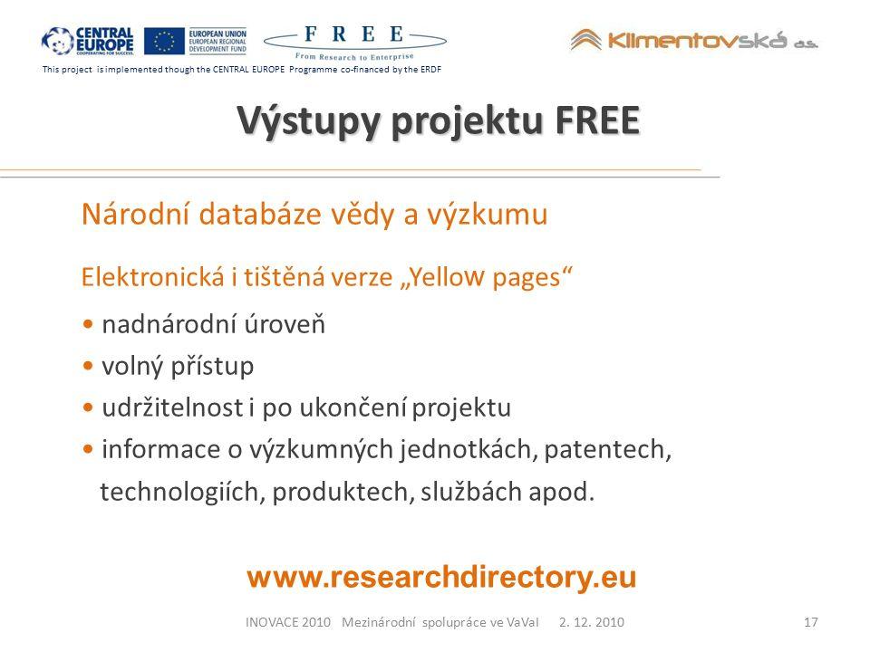 This project is implemented though the CENTRAL EUROPE Programme co-financed by the ERDF INOVACE 2010 Mezinárodní spolupráce ve VaVaI 2. 12. 2010 Výstu
