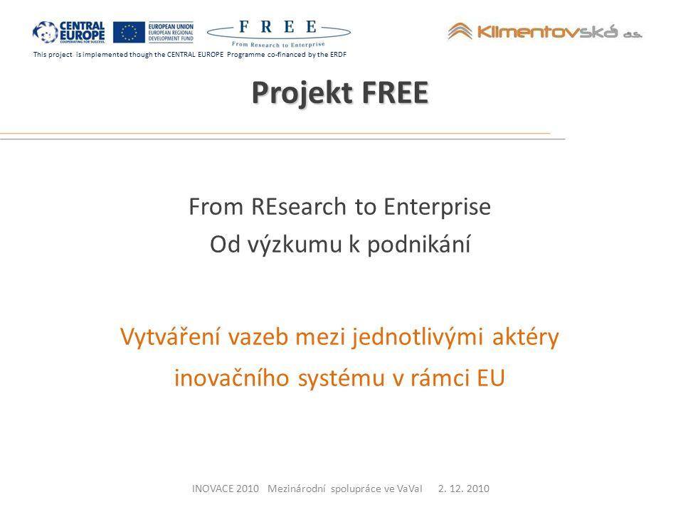 This project is implemented though the CENTRAL EUROPE Programme co-financed by the ERDF Hlavní cíl Podpora šíření inovací do podnikatelského sektoru prostřednictvím národní sítě přizpůsobené regionálním rozměrům Projekt FREE INOVACE 2010 Mezinárodní spolupráce ve VaVaI 2.