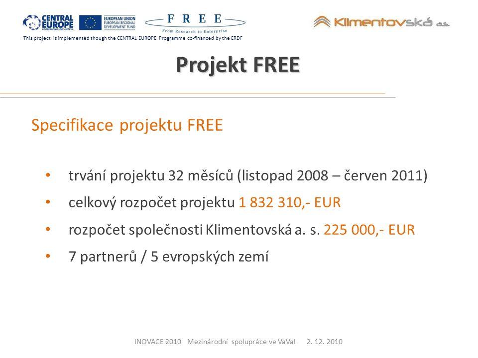 This project is implemented though the CENTRAL EUROPE Programme co-financed by the ERDF Specifikace projektu FREE trvání projektu 32 měsíců (listopad