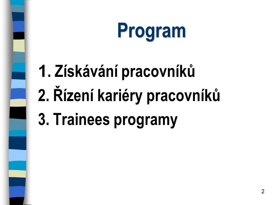 2 Program 1. Získávání pracovníků 2. Řízení kariéry pracovníků 3. Trainees programy