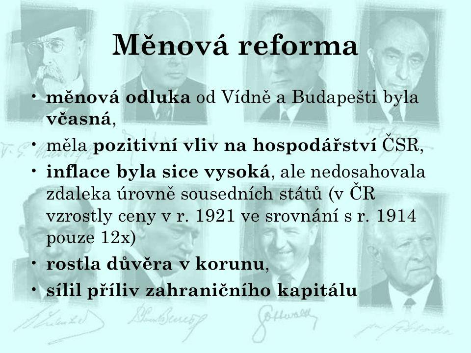 Měnová reforma měnová odluka od Vídně a Budapešti byla včasná, měla pozitivní vliv na hospodářství ČSR, inflace byla sice vysoká, ale nedosahovala zda