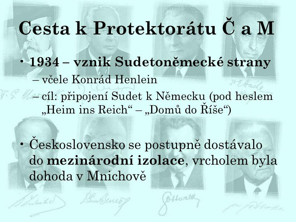 """Cesta k Protektorátu Č a M 1934 – vznik Sudetoněmecké strany –včele Konrád Henlein –cíl: připojení Sudet k Německu (pod heslem """"Heim ins Reich"""" – """"Dom"""