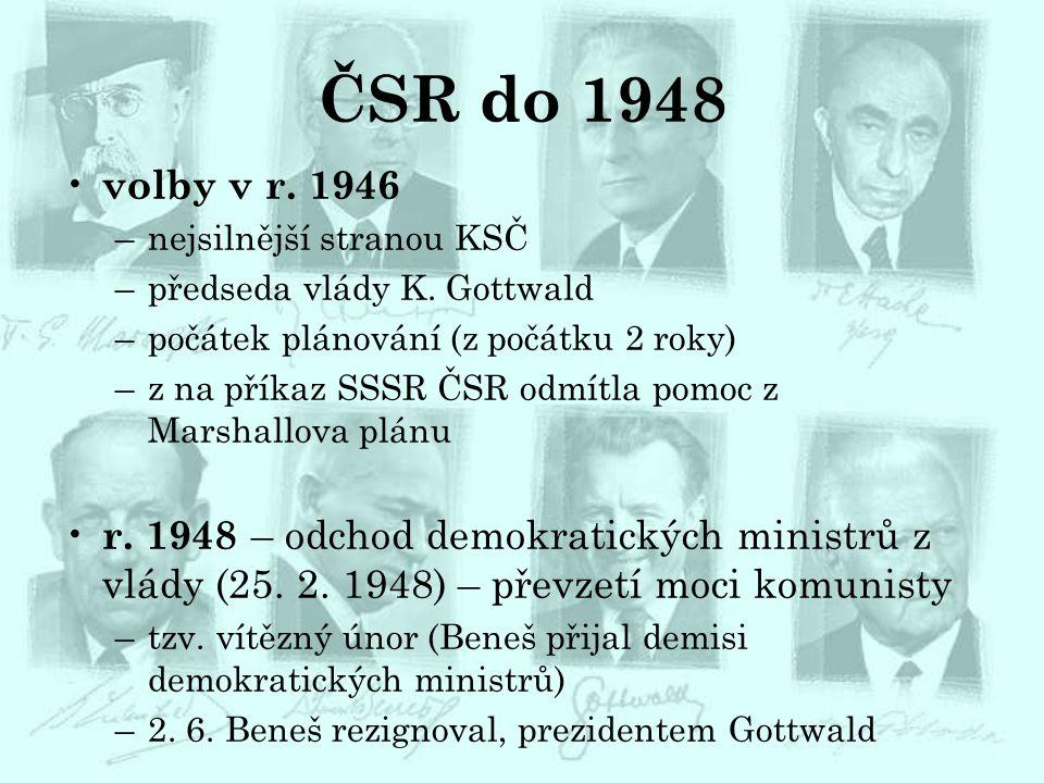ČSR do 1948 volby v r. 1946 –nejsilnější stranou KSČ –předseda vlády K. Gottwald –počátek plánování (z počátku 2 roky) –z na příkaz SSSR ČSR odmítla p