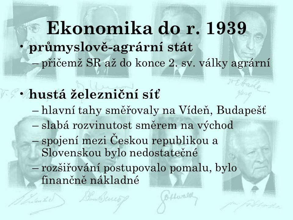 Ekonomika do r. 1939 průmyslově-agrární stát –přičemž SR až do konce 2. sv. války agrární hustá železniční síť –hlavní tahy směřovaly na Vídeň, Budape