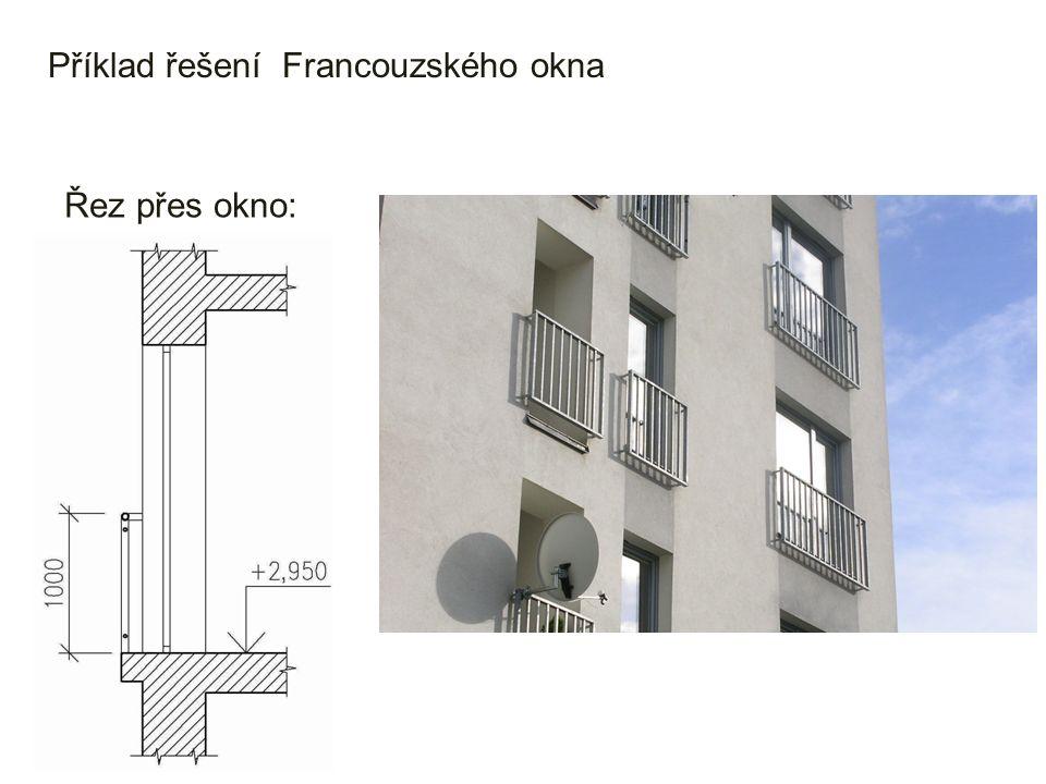 Příklad řešení Francouzského okna Řez přes okno: