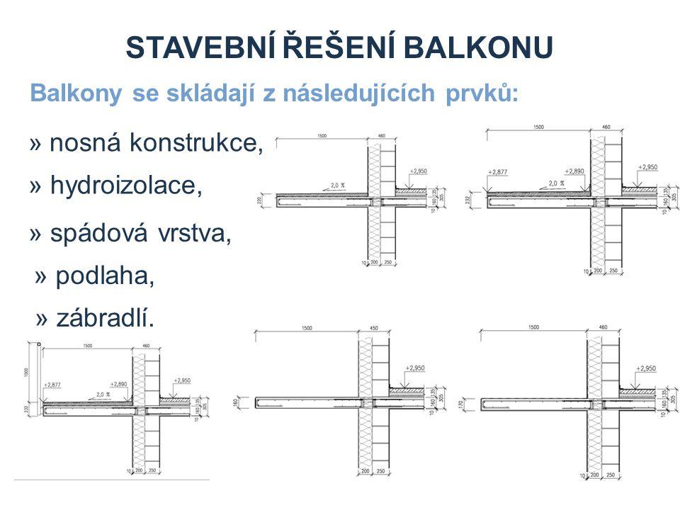 STAVEBNÍ ŘEŠENÍ BALKONU Balkony se skládají z následujících prvků: » zábradlí.