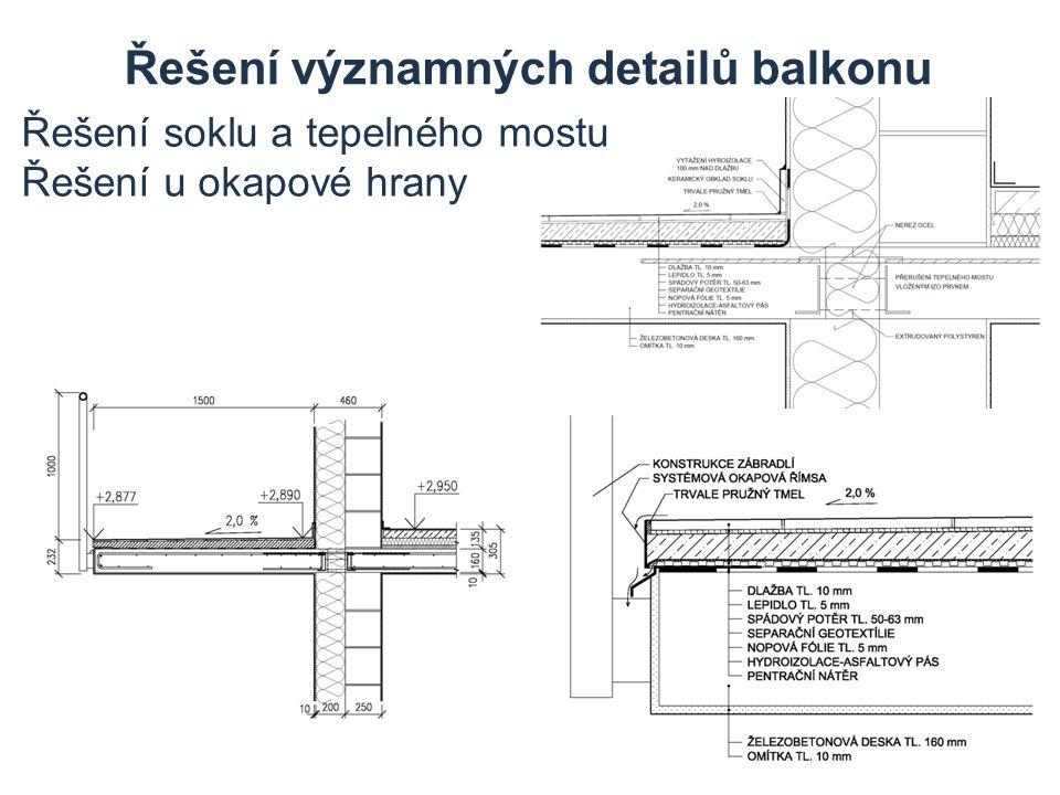 Řešení významných detailů balkonu Řešení soklu a tepelného mostu Řešení u okapové hrany