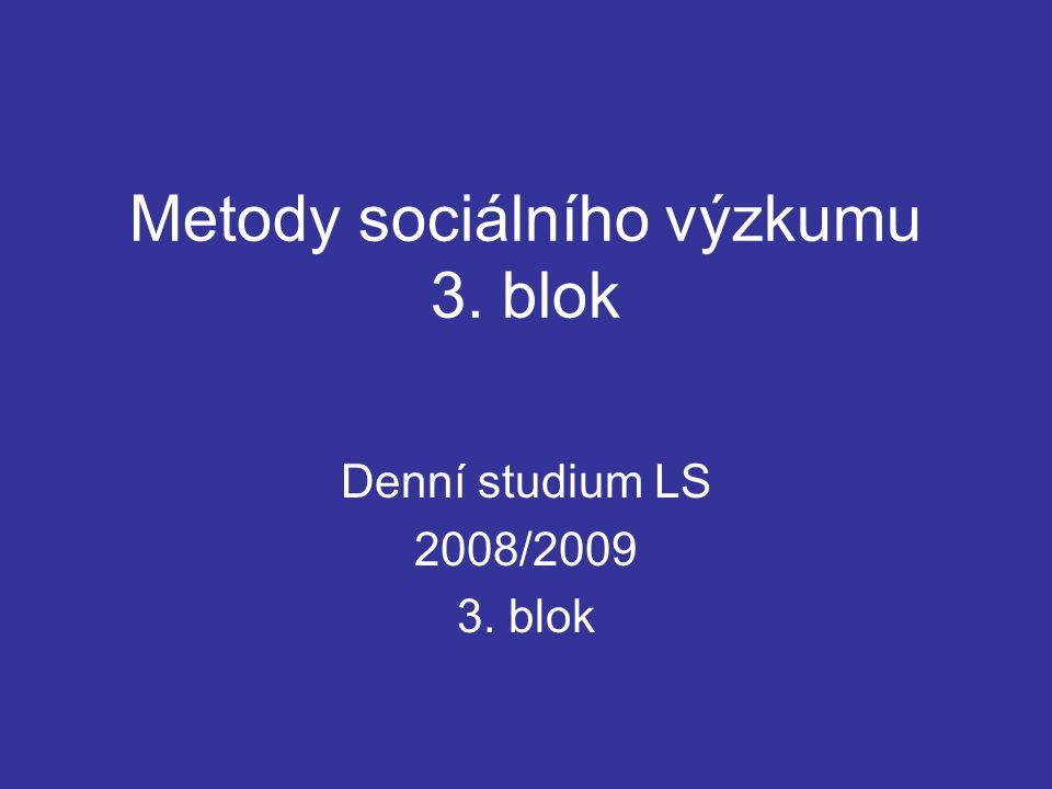 Metody sociálního výzkumu 3. blok Denní studium LS 2008/2009 3. blok