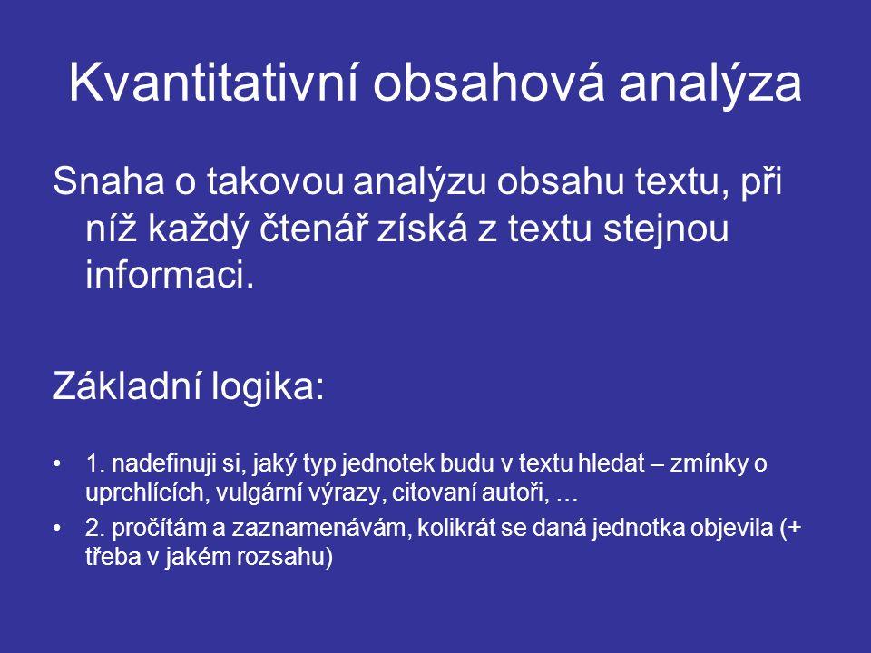Kvantitativní obsahová analýza Snaha o takovou analýzu obsahu textu, při níž každý čtenář získá z textu stejnou informaci.