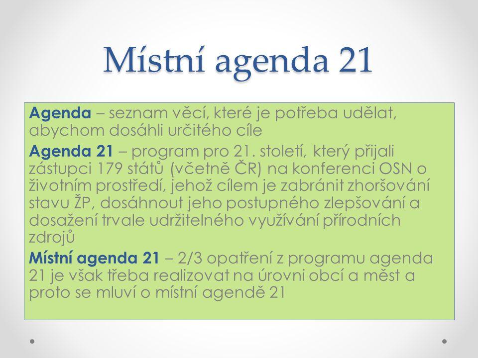 Místní agenda 21 Agenda – seznam věcí, které je potřeba udělat, abychom dosáhli určitého cíle Agenda 21 – program pro 21.
