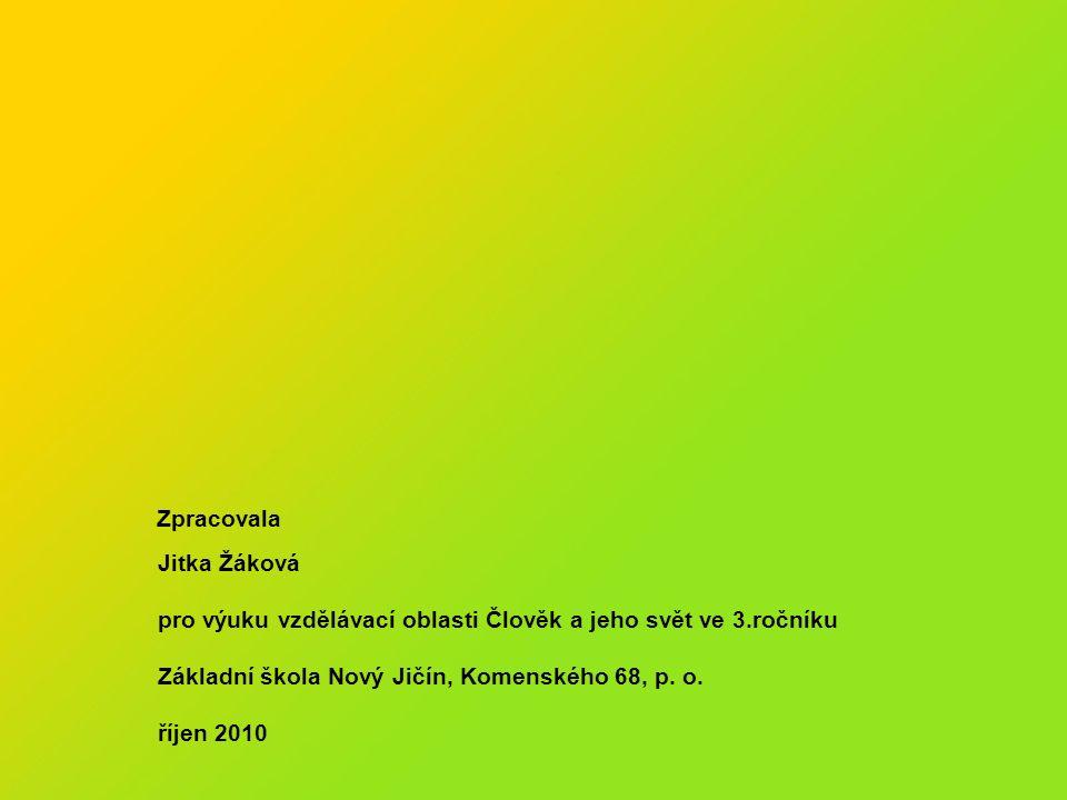Zpracovala Jitka Žáková pro výuku vzdělávací oblasti Člověk a jeho svět ve 3.ročníku Základní škola Nový Jičín, Komenského 68, p. o. říjen 2010