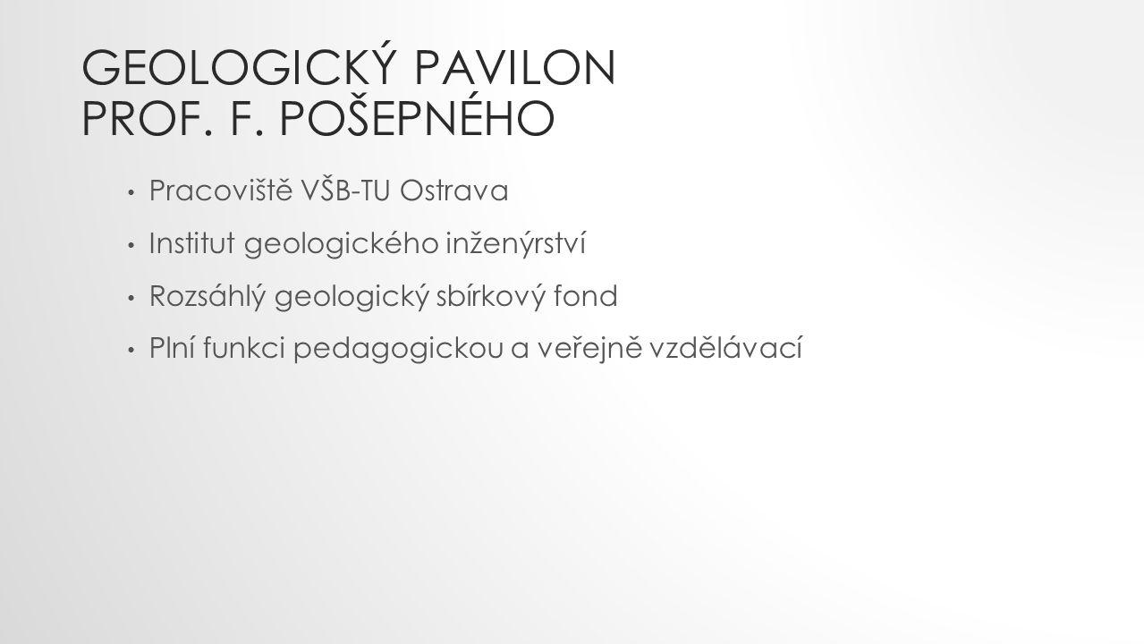 GEOLOGICKÝ PAVILON PROF. F. POŠEPNÉHO Pracoviště VŠB-TU Ostrava Institut geologického inženýrství Rozsáhlý geologický sbírkový fond Plní funkci pedago