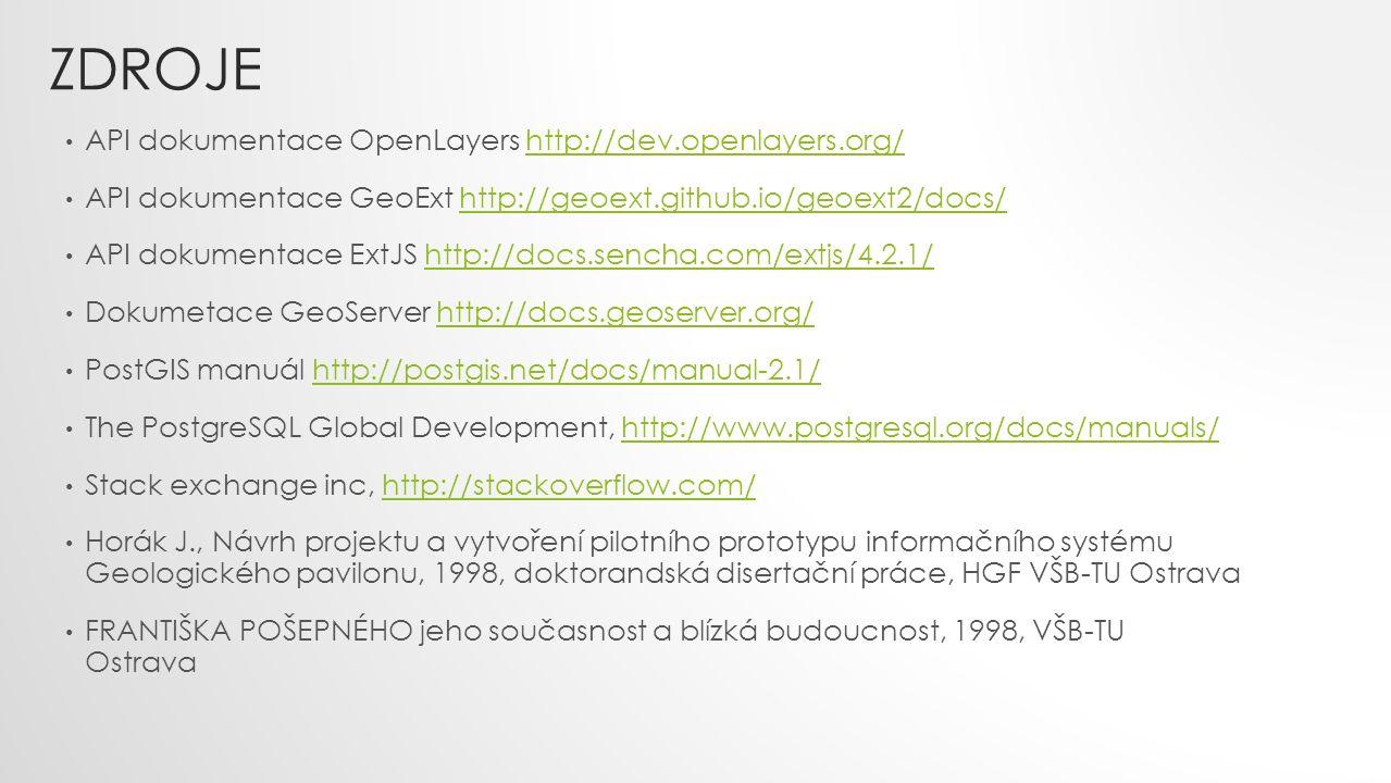 ZDROJE API dokumentace OpenLayers http://dev.openlayers.org/http://dev.openlayers.org/ API dokumentace GeoExt http://geoext.github.io/geoext2/docs/htt