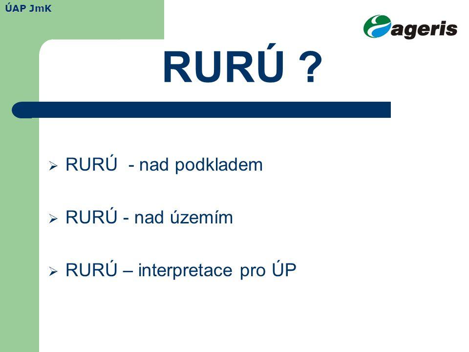RURÚ  RURÚ - nad podkladem  RURÚ - nad územím  RURÚ – interpretace pro ÚP ÚAP JmK